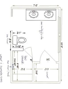 Modify this one 8x11 bathroom floor plan with double bowl for Bathroom design 9x7