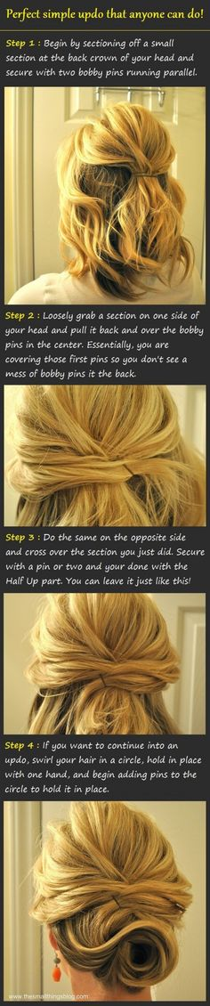 41 new ideas for hair diy updo classy Up Hairstyles, Pretty Hairstyles, Wedding Hairstyles, Simple Hairstyles, Medium Hairstyles, School Hairstyles, Men's Hairstyle, Braided Hairstyles, Updo Tutorial