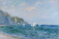 Cliffs and Sailboats at Pourville Framed Art Print | Claude Monet | iCanvas