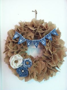 Burlap and Denim Welcome Wreath by TickleberryMoon on Etsy, $35.00