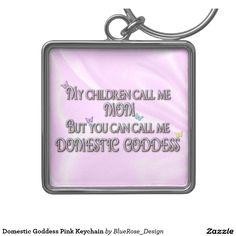 Domestic Goddess Pink Keychain