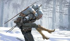 Father (Ciri and Geralt from The Witcher) by wlop.deviantart.com on @DeviantArt
