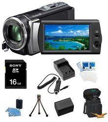 Sony HDR-CX190 HDR-CX190B HDR-CX190/B High Definition Handycam 5.3 MP Camcorder with 25x Optical Zoom + 16GB High Speed SDHC Card + High Capacity Battery + Rapid AC/DC Charger + Deluxe Case + Much More! by Sony. $249.99. The easy-to-use HDR-CX190 ultra-lightweight Handycam camcorder records stunning 1920x1080p Full HD video and 5.3MP pictures. Its stabilized 25X/30X Extended digital zoom lens gets you closer to the action. And a back-illuminated Exmor R CMOS sensor allows you to...