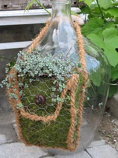 Translated from Swedish Site - Case/Purse The bag we make of chicken wire, moss and rope. In case we are planting a crop. The bag has a flat back and are therefore very nicely on a fence, fence, chair or similar. A permanent garden decoration that can Chicken Wire Art, Chicken Wire Crafts, Moss Garden, Garden Planters, Garden Crafts, Garden Projects, Yard Art, Amazing Gardens, Outdoor Gardens