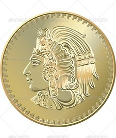 Vector Mexican coin with the image of the  Indians.