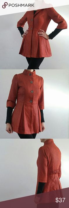 "ETHYL Victorian Inspired Jacket Awesome but a bit too short on me. Cotton blend and fully lined jacket you can pair with jeans, leggings, skirts.... Dress it up... Dress it down. Fully lined. 3/4 sleeves. Very good condition. Orange/red color portrayed very well in the first 3 pics. (For reference - I'm 5'8"" and 140lbs) Ethyl Jackets & Coats Blazers"