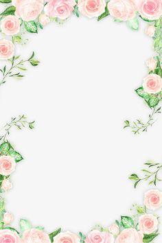 Romantic Pink Flower frontera, Hojas, Flores, Flores De Color Rosa Imagen PNG
