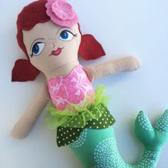 Green Stitches Mermaid Doll