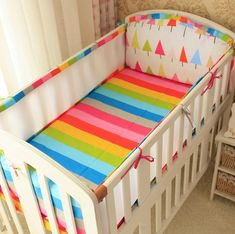 4Pcs/Sets Nordic Style Cotton  Baby Bumper Bed Around Printing  Ventilated Cirb Breathable Sandwich Flexible Baby Bumper Bedding