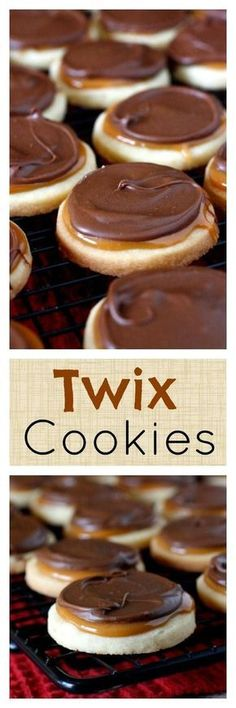 Twix Cookies - shortbread cookies topped with caramel and chocolate - they taste like a Twix candy bar! #desertsfoodrecipes