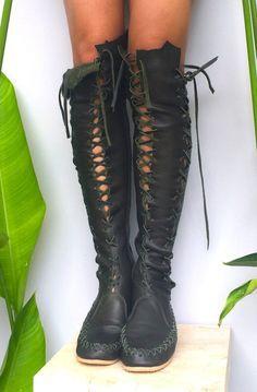 Elven Dark Forest Green Leather Knee High Boots - Leather Boots - Ideas of Leather Boots - Dark Forest leather Knee High Boots www. Festival Trance, Green Leather, Leather Boots, Mode Steampunk, Elf Costume, Costumes, Green Boots, Dark Forest, Magical Forest