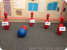 Sight Word Bowling!!!  Have one student come up at a time and call out a sight word. Then, they have to roll the ball and try to hit the pin with the sight word on it.