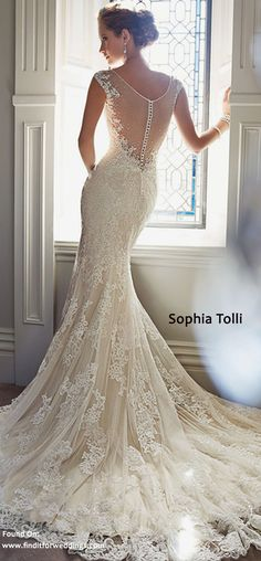 Exquisite lace designer wedding dress by Sophia Tolli  www.finditforweddings.com Wedding Gowns Vintage style wedding dress