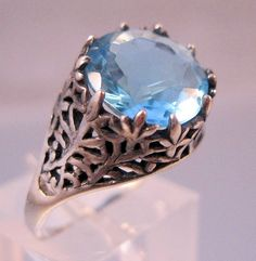 $69.00 Vintage Blue Topaz Filigree Sterling Silver Ring Art Deco Edwardian Style Size 6.5 Fine Jewelry Jewellery by BrightEyesTreasures on Etsy