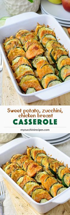 Healthy, gluten-free, low-carb sweet potato, zucchini casserole with chicken breast and Parmesan - a quick and simple dinner recipe