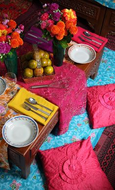 Bright Indian table setting for the perfect Hundred-Foot Journey Movie Party!