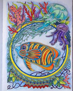 #adultcoloring  #adultcoloringbook  #miftvorchestvo  #ветеруноситцветы  #derwentinktense  #раскраскаантистресс  #раскраскадлявзрослых Ocean Creatures, Color Activities, Coloring Book Pages, Prismacolor, Marine Life, Adult Coloring, Color Inspiration, Fantasy Art, Sketches
