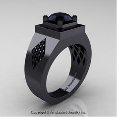 Or if he wants to match, but without the pink stone......PERFECT!!  Mens Modern Classic 14K Black Gold 2.0 Ct Black Diamond Designer Wedding Ring R338M-14KBGBD - Perspective