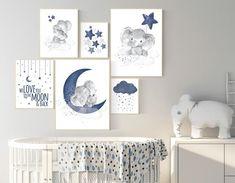Nursery decor boy elephant navy blue nursery wall art cloud stars navy nursery boy nursery wall art we love you to the moon and back Deco Elephant, Elephant Themed Nursery, Nursery Decor Boy, Star Nursery, Nursery Themes, Nursery Room, Nursery Wall Art, Owl Nursery, Nursery Ideas