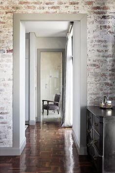 whitewashed brick parquet floors