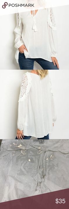 """[Tassels N Lace] White Top with Lace and Tassles Description: L: 24"""" B: 42"""" W: 46"""". 100% rayon; off white  Store Code 9 Tassels N Lace Tops Blouses"""