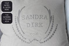 Pillow with names and wedding date. Unique wedding gift or wedding decor. Hand printed by My Home and Yours