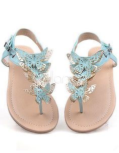 Sweet Thong Flat Sandals with Lovely Butterfly Pretty Sandals, Beautiful Sandals, Blue Sandals, Beach Sandals, Blue Shoes, Shoes Sandals, Women Sandals, Flats, Cheap Sandals