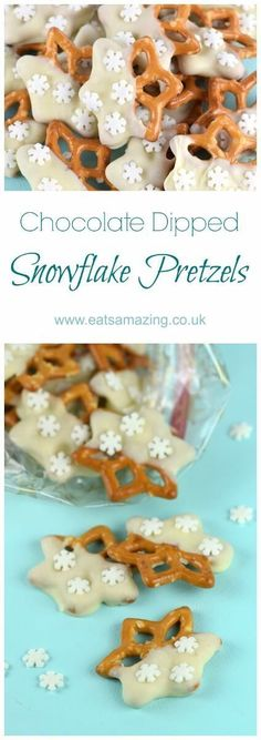 Easy snowflake chocolate dipped pretzels recipe - a great for edible gift idea or christmas party food nibbles from Eats Amazing UK christmas cooking gifts Christmas Party Food, Xmas Food, Christmas Sweets, Christmas Cooking, Noel Christmas, Christmas Goodies, Christmas Recipes, Christmas Nibbles, Christmas Pretzels