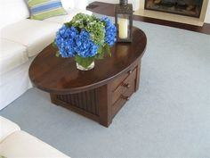 Oval Coffee Table with Drawers