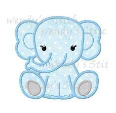 Baby elephant applique machine embroidery design digital pattern by WendysStitch on Etsy https://www.etsy.com/listing/188766526/baby-elephant-applique-machine