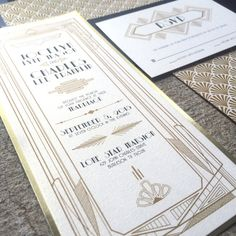 4x9 Metallic Gold, Black and Ivory Great Gatsby Art Deco Themed Wedding Invitation with RSVP and Envelope Liner