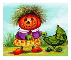 pumpkin mama' and baby Have A Beautiful Day, Art Studios, Cute Art, Wall Art Decor, Whimsical, Illustration Art, My Arts, Creatures, Fantasy