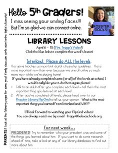 Library Lessons for Distance Learning • The Trapped Librarian School Library Lessons, Library Lesson Plans, Elementary School Library, Library Skills, Elementary Counseling, Elementary Schools, Career Counseling, Library Ideas, Technology Lessons