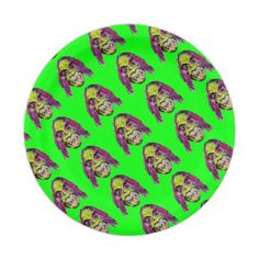 scary fiendish horror monster portrait paper plate - Halloween happyhalloween festival party holiday