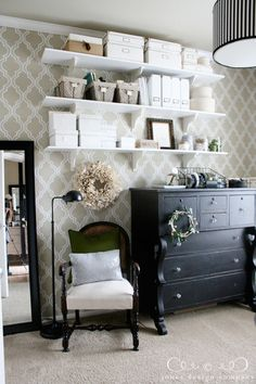 Love this office with the wallpaper and antique hutch but it looks so modern!