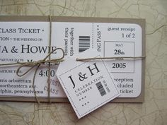 Boarding Pass Wedding Invitation Package, Vintage travel First Class ticket invitation with tag & twine. $5.95, via Etsy.