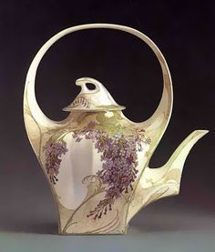 "Rozenburg, Den Haag, ""Eggshell"" Porcelain painted tea pot."