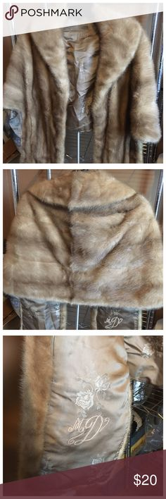 Mink Stole Beautiful mink shoulder wrap. Haggarty's brand. Hand stitching details. The neck area needs to be restitched. It has been in the closet for years so it has a slight closet odor. Can easily be refreshed by sending to your local dry cleaners.  Priced to sale. Haggarty's Jackets & Coats Capes