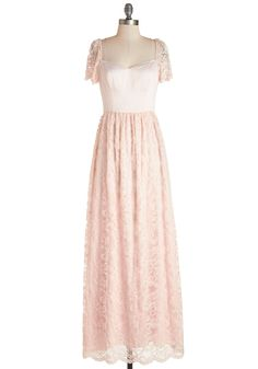 Blush With Destiny Dress - Solid, Lace, Special Occasion, Prom, Wedding, Fairytale, Maxi, Cap Sleeves, Better, Sweetheart, Long, Pink, Exclusives, Bridesmaid, Valentine's