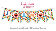 Sesame Street Inspired Birthday High Chair by SunshineInkStudio