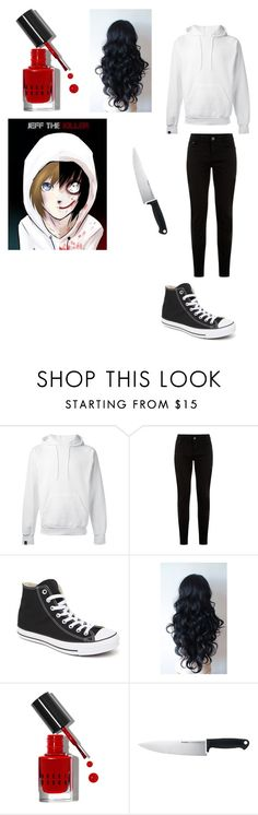 """Jeff the killer creepypasta outfit"" by ender1027 ❤ liked on Polyvore featuring SWEAR, New Look, Converse, Bobbi Brown Cosmetics and Kershaw"