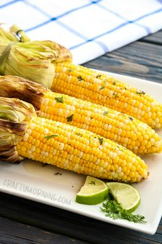 Grilled Corn with Sweet Cilantro Lime Butter  Credits: Crafty Morning