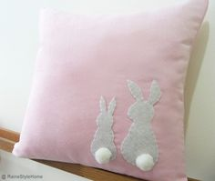 Decoration, Adorable 2015 easter bunny rabbit pillow pure linen material soft pink background gray bunny rabbit decoration white pom pom bunny tail square cushion easter home decorating ideas: Charming Easter Bunny Rabbit Pillow Covers
