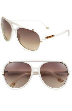 MICHAEL Michael Kors 'Jemma' 60mm Aviator Sunglasses | Nordstrom -- white, crisp, fresh with a hint of tortoise for Spring?