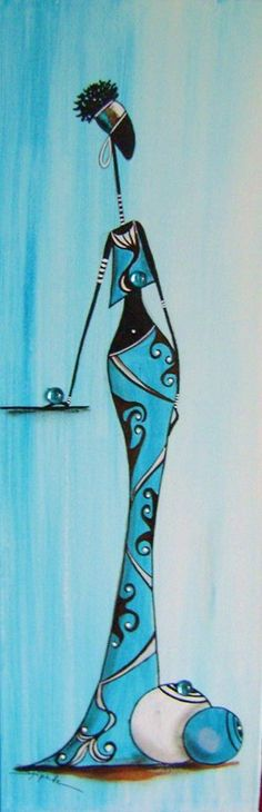 Black Women Art, Black Art, African Art Paintings, African Dolls, Art Africain, Africa Art, African American Art, Aboriginal Art, Tribal Art