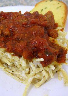 """Easy"" Spasagna - spaghetti, alfredo and meat sauce - quick and easy spaghetti lasagna!"