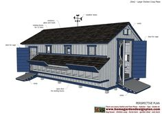 home garden plans: L310 - Large chicken coop plans - Chicken coop design - How to build a chicken coop