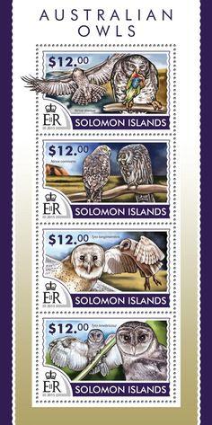 Post stamp Solomon Islands SLM 15219 aAustralian owls (Ninox strenua, Ninox connivens, Tyto longimembris, Tyto tenebricosa)