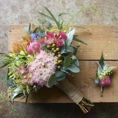 Swallows Nest Farm Australian Native Bridal Bouquet, Flowering Gum, Wattle, Protea, Pincushion