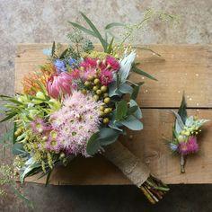 Swallows Nest Farm Australian Native Bridal Bouquet, Flowering Gum, Wattle, Protea, Pincushion